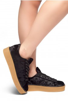 Women's  Platform Creeper Sneaker KATE (Black)