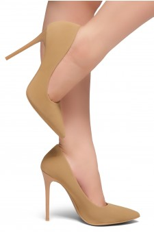 Herstyle Women's Katherina-High Heel with Lightly Pointed Toe Stiletto Heel (Tan)