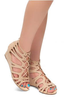 HerStyle Women's Manmade Katina 2.5-inch Gladiator Style Wedge Sandal with Lace-up Vamp (Blush)