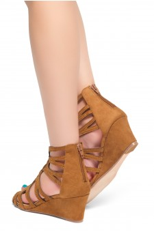 HerStyle Women's Manmade Katina 2.5-inch Gladiator Style Wedge Sandal with Lace-up Vamp (Tan)