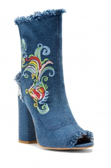 HerStyle Women's Kattiee Peep Toe Ankle Boot in Blue Denim with floral embroidery