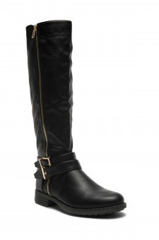 HerStyle Kayyllen- Double Buckled Strap with zipper detail Riding Knee High Boots (Black)
