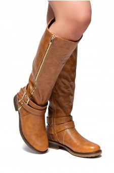 HerStyle Kayyllen- Double Buckled Strap with zipper detail Riding Knee High Boots (Cognac)