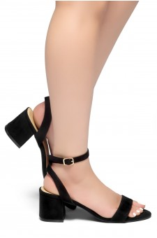 HerStyle KEEPTALKING-Suede Open Toe Ankle Strap Low Chunky Heel Sandal (Black)