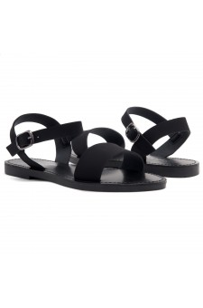 Shoe Land Keetton- Women's Open Toes One Band Ankle Strap Flat Sandals (1896 BLKNU)