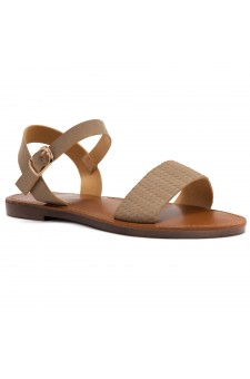 Shoe Land Keetton- Women's Open Toes One Band Ankle Strap Flat Sandals (1896 CMLNU)