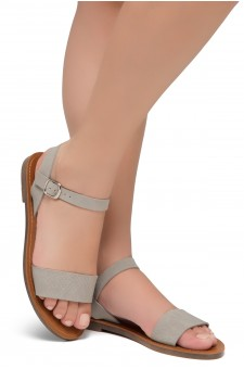 Shoe Land Keetton- Women's Open Toes One Band Ankle Strap Flat Sandals (1896 GRYNU)