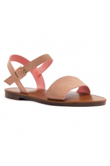 Shoe Land Keetton- Women's Open Toes One Band Ankle Strap Flat Sandals (1896 MAUVNU)