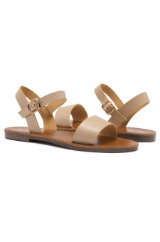 Shoe Land Keetton- Women's Open Toes One Band Ankle Strap Flat Sandals (Beige)