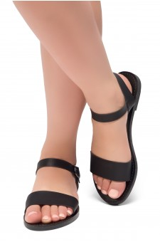 Women's Black Manmade Keetton Flat Sandal with Faux Leather Straps
