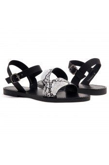 Shoe Land Keetton- Women's Open Toes One Band Ankle Strap Flat Sandals (BLK/WHTSNK/BLK)