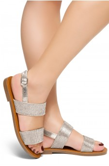 HerStyle Keetton-Rhinestone Details, Double-Band Vamp, Open Toe, Flat Sandals (Diamond Silver)