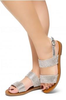 HerStyle Keetton-Rhinestone Details, Double-Band Vamp, Open Toe, Flat Sandals (Diamond Silver)