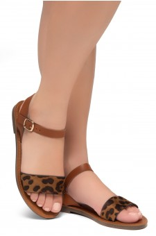 Shoe Land Keetton- Women's Open Toes One Band Ankle Strap Flat Sandals (Leopard/Cognac)