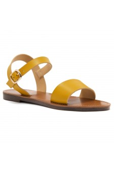 Shoe Land Keetton- Women's Open Toes One Band Ankle Strap Flat Sandals (Mustard)