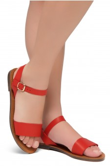 Shoe Land Keetton- Women's Open Toes One Band Ankle Strap Flat Sandals (Red)