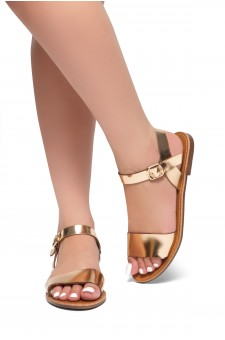 Herstyle Women's Manmade Keetton Flat Sandal with Faux Leather Straps -RoseGold