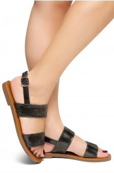 HerStyle Keetton-Rhinestone Details, Double-Band Vamp, Open Toe, Flat Sandals (Stone Black)