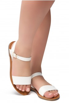 Herstyle Women's Manmade Keetton Flat Sandal with Faux Leather Straps -White