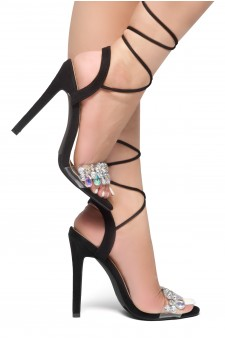 HerStyle Kelany-Lace up, ankle strap, Stiletto heel, Perspex with jewel strap detail (Clear/Black)