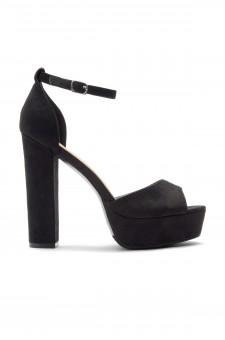 HerStyle Kenning Suede Ankle Strap Platform Heel (Black)