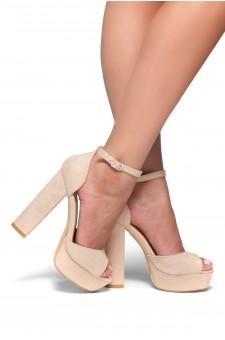 HerStyle Kenning Suede Ankle Strap Platform Heel (Blush)