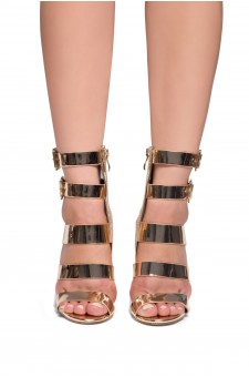 HerStyle Kerina Ankle strappy, buckled, stiletto heel (Rose Gold)