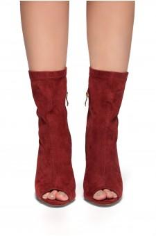 HerStyle Kerry-Suede Peep Toe Chunky Heel (Burgundy)