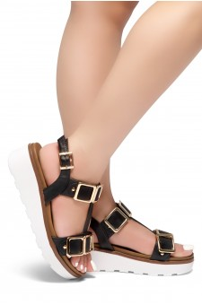 HerStyle Kimmie- Open Toe Buckle Decorative Vamp Platform Heel (Black)
