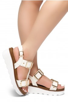 HerStyle Kimmie- Open Toe Buckle Decorative Vamp Platform Heel (White)