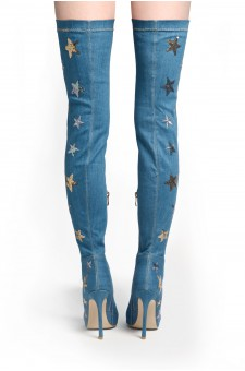 HerStyle Women's Kimmii Stars Embroidered Peep Toe Thigh-high Boot in Blue Denim