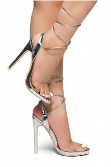 HerStyle KINZA-Stiletto heel, Ankle lace-up (Silver)