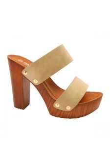 Women's Nude Manmade Klaaree 4-inch Faux Wood Sandal with Gold-Tone Studs