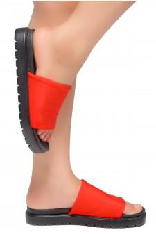 HerStyle Knock Comfort-Open Toe Slide Sandals (Red/Black)