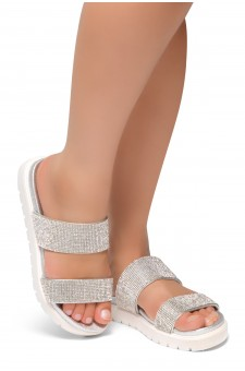 HerStyle Knock-Open Toe Jewelled Embellishment Slide Sandal (Silver)