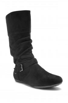 HerStyle Knolla Women's Fashion Calf Flat Heel Side Zipper, Buckled, Slouch Ankle Boots (Black)