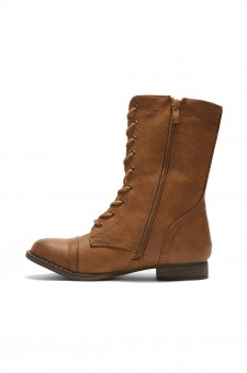 HerStyle Korraa-2 Military Lace up Combat Boots (Tan)
