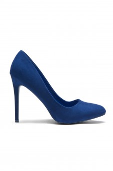 HerStyle Women's Manmade Korriie Faux Suede Almont Toe Stiletto Pump - Royal Blue