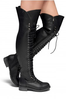 HerStyle Kristrrina-Combat Lace up Over-The-Knee Boots(Black)
