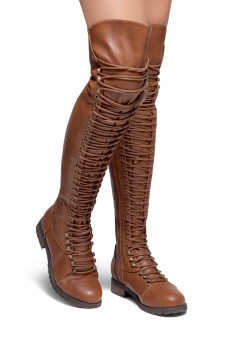 HerStyle Kristrrina-Combat Lace up Over-The-Knee Boots(Brown)