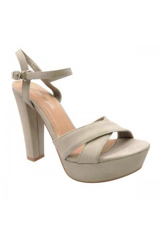 Women's Grey Manmade Lamonnca 4-inch Heeled Sandal with Sueded Sides