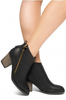 HerStyle Women's Lancast- Low Stacked Block Heel Almond Toe Casual Ankle Booties (Black)