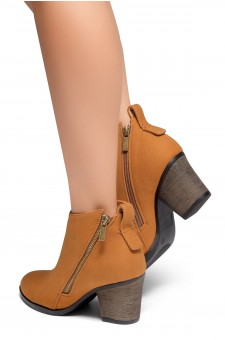 HerStyle Women's Lancast- Low Stacked Block Heel Almond Toe Casual Ankle Booties (Tan)