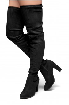 HerStyle Lanccing-Almond toe, Chunky heel, Thigh high (Black)