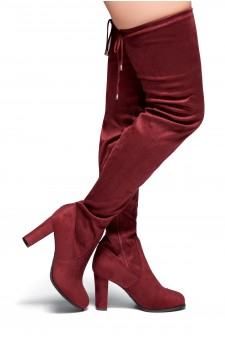 HerStyle Lanccing-Almond toe, Chunky heel, Thigh high  (Burgundy)