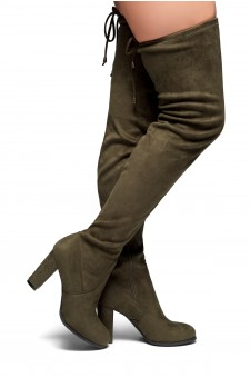 HerStyle Lanccing-Almond toe, Chunky heel, Thigh high (Olive)