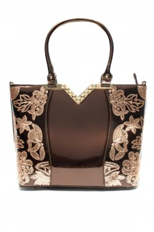 SLC-662119- High-end Patent Elegant Sequin Bag (Brown)