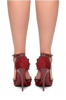 HerStyle Laumea-Pointed toe, stiletto heel, ankle strap, Studs Pumps (Burgundy)