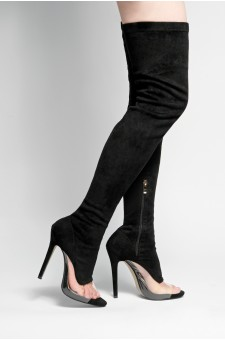 HerStyle Laurrie peep toe with crystal Perspex detail, thigh high, stiletto heel (black)