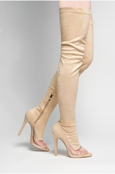 HerStyle Laurrie peep toe with crystal Perspex detail, thigh high, stiletto heel (Nude)